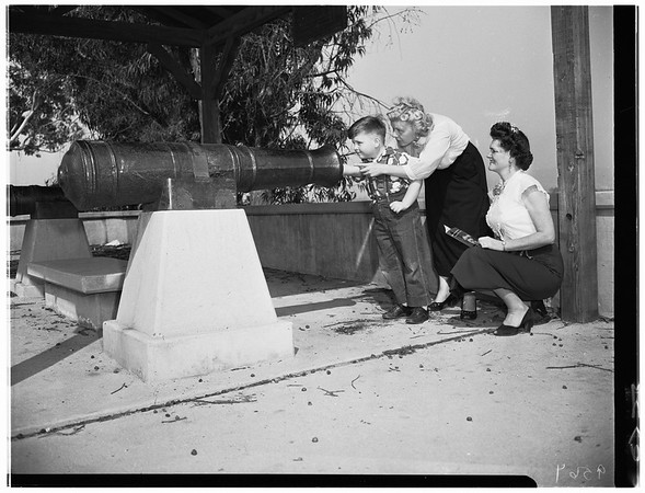 Montebello landmark ...Cannon at site of Battle of Rio San Gabriel, 1952.