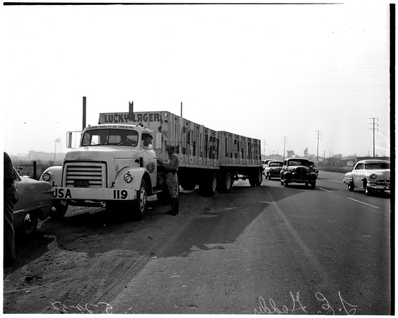 Traffic checks ... Washington Boulevard near Anaheim--Telegraph Road, 1952
