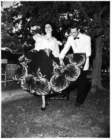 Covina High School fashion show, student-made creations, 1952