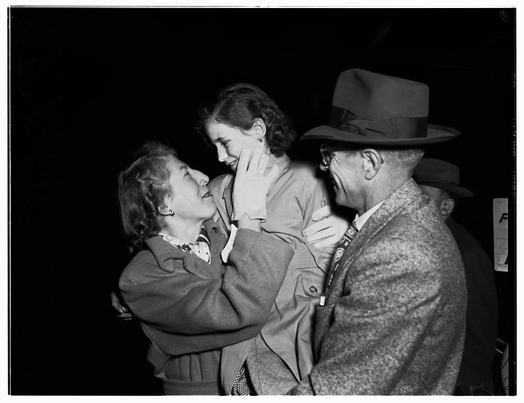 German girl arrives at airport, 1952