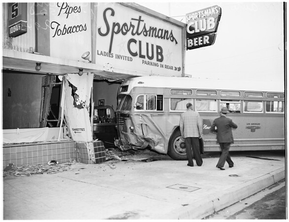 Collision... auto into bus, and bus into bar... at Western Avenue and Century Boulevard, 1952