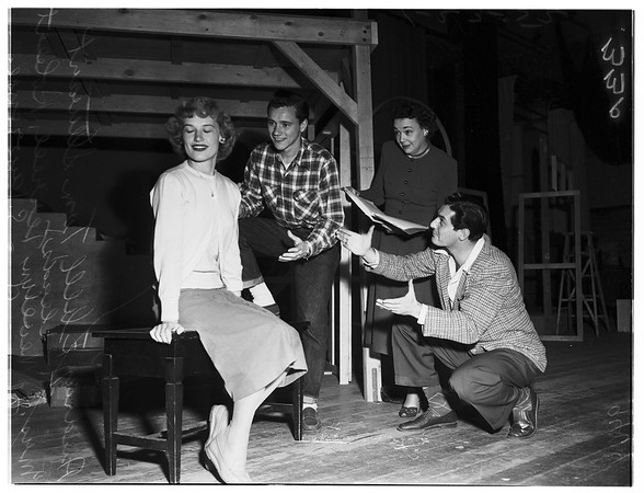 College play rehearsal at Pepperdine College (now University), 1952