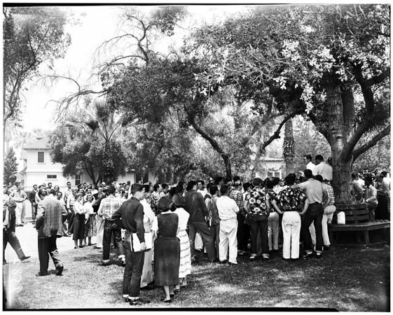Whittier College students (peace talks), 1952