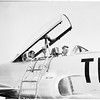 William Randolph Hearst, Junior pays visit to Howard Hughes Aircraft Company, makes flight in a jet plane, 1952