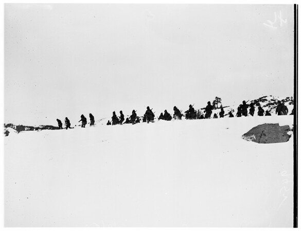 United States Marines in cold weather training camp at Pickel Meadows ...men from Camp Pendleton go through maneuvers, 1952