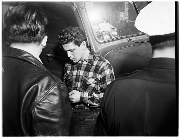 Accident... auto versus truck, 1952