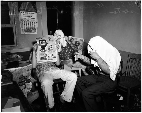 Aftermath of panty raid at University of Southern California, 1952