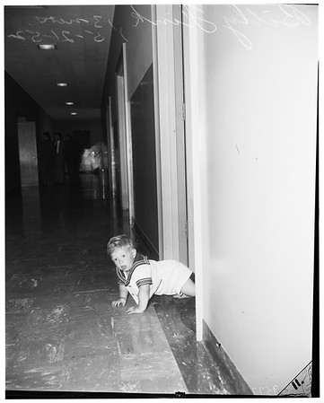 Billy Fink on loose, 13-month old boy lost in court house as father is tried for misdemeanor in Santa Monica, 1952.