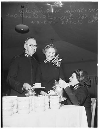 Salvation army tea honoring Lieutenant Colonel Clarke, 1952