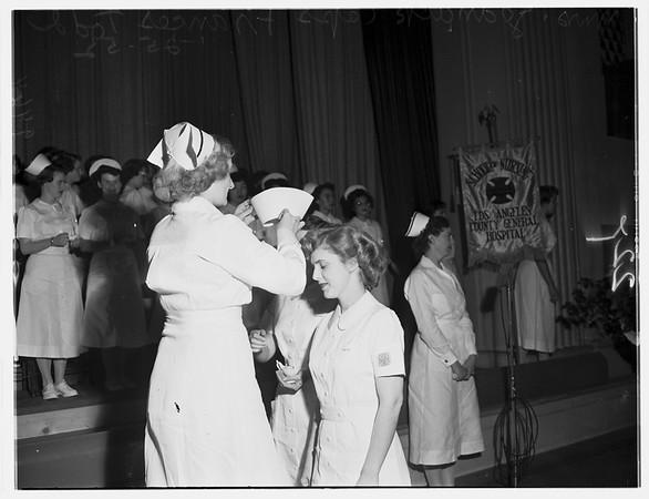 Nurses capping at Los Angeles General Hospital, 1952
