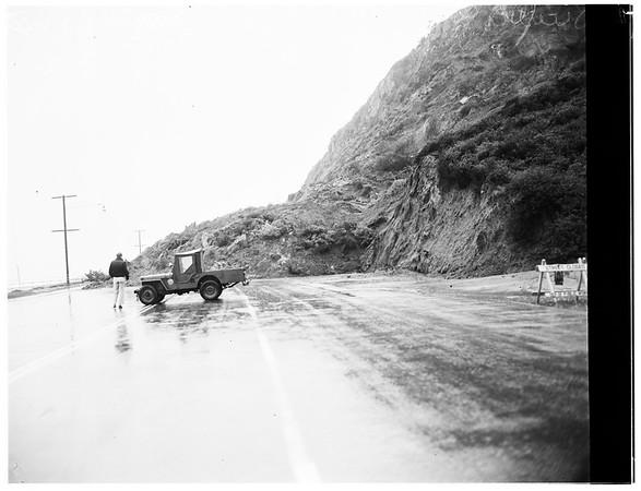 Landslide on Pacific Coast Highway, Santa Monica, 1/2 mile south of Sunset Boulevard ...Part of Bernheimer Gardens, 1952