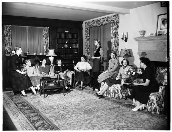 Juniors of the West Hills Hunt Club hold meeting for election of officers and to plan future events, 1951