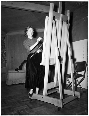 Painter in her home in Hollywood, 1951
