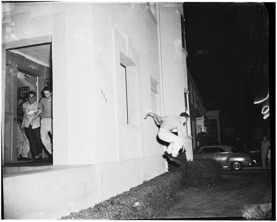 University of Southern California panty raid, and bonfire... burning of trojan horse, 1952