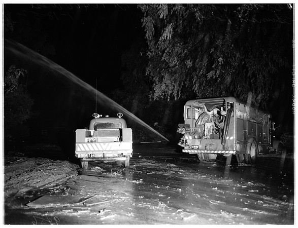 Storm damage... West Sunset Boulevard and Bel Air Road, 1952