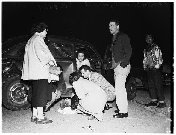 Traffic accident at Vista Del Mar and Century Boulevard, 1952