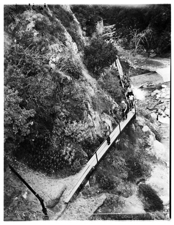 Boy rescued after fall in canyon, 1952
