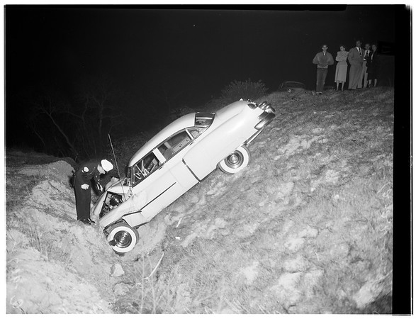 Car over cliff (Coldwater Canyon Avenue), 1952