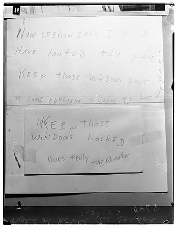 "Note left at school by ""The Phantom: warning school to close windows against possible ""Burgeller"", 1952"