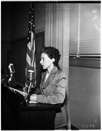 School Board hearing on use of Roosevelt High School Auditorium, 1952