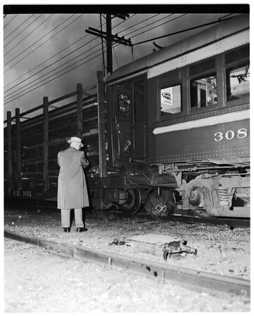 Pacific Electric Car crashes into parked lumber train ...Wilmington Road, San Pedro, 1952