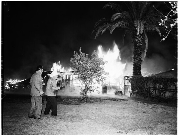 Fire... Electrical Shop and home at Canoga Park, at 20226 Leadwell Street, 1952
