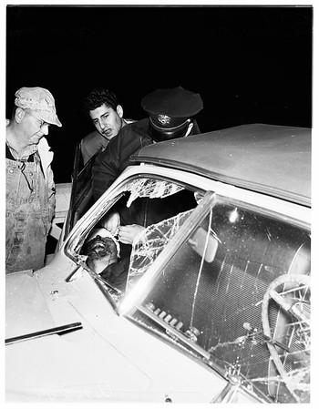 Auto crash on North Main Street bridge, 1952