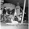 Preparation of floats for Rose Parade, 1951