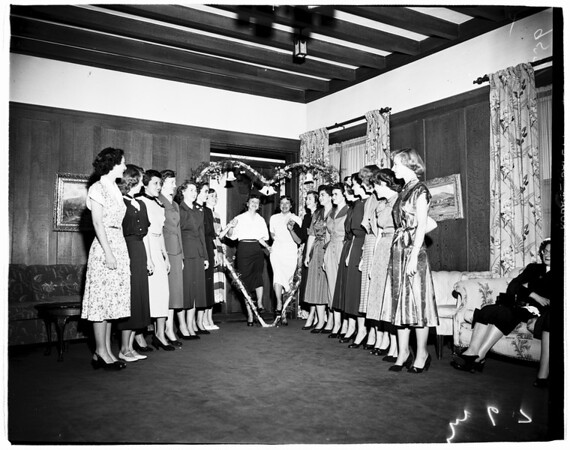 Presentation of engaged girls at Pepperdine College, 1952