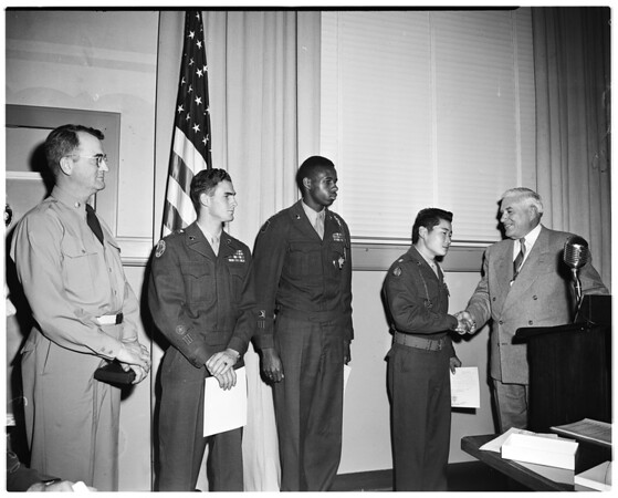 Reserve Officers Training Corps presentation at the Board of Education meeting, 1952