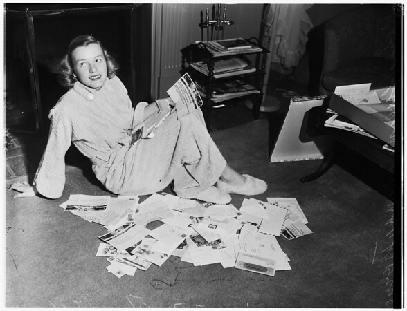 Rose Queen, with her fan mail, 1951