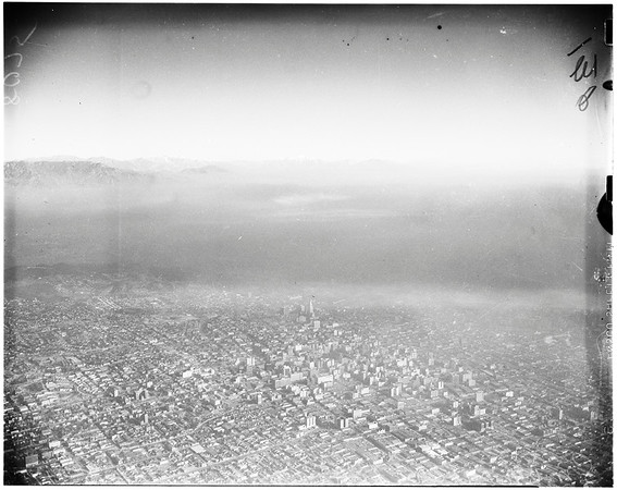 Aerial views of smog over Los Angeles, 1949