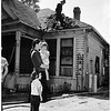 Fire of home at Vermont Avenue and Olympic Boulevard, 1952