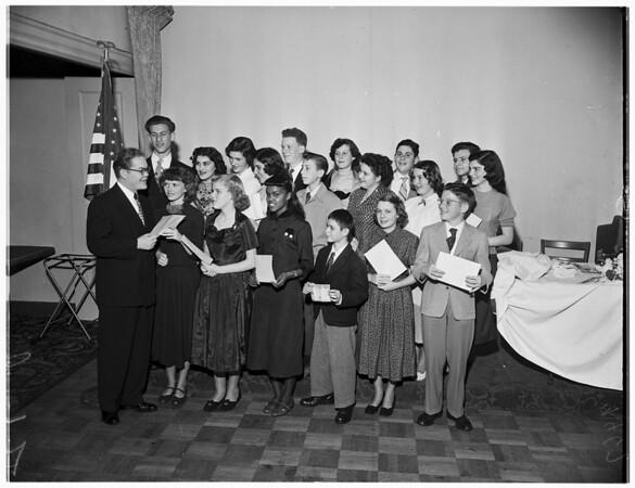 Bill of Rights essay winners (Ambassador Hotel), 1952