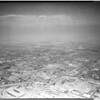 Air views of smog over Los Angeles area, 1949