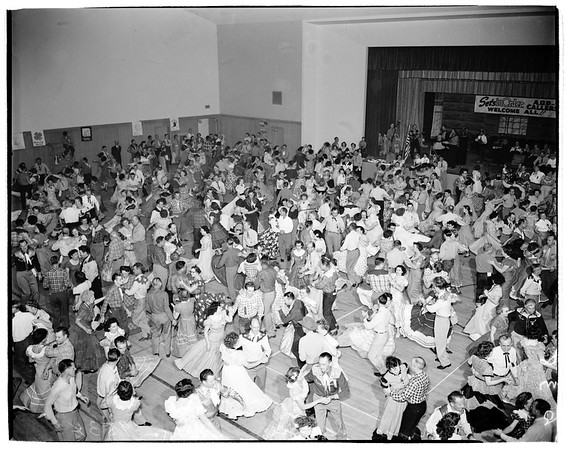 Physical Education conference at San Fernando Valley... square dancing... groups and individuals, 1952