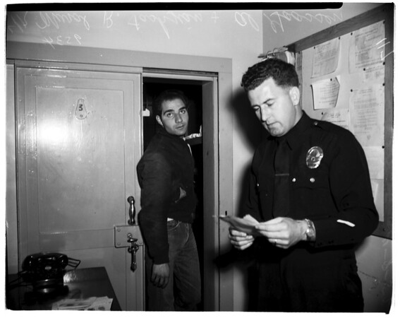 Burglary ring smashed... suspects in Van Nuys jail, 1952