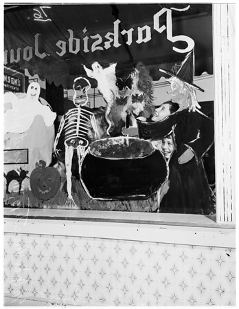 Kids paint windows (Sunset Boulevard), 1952