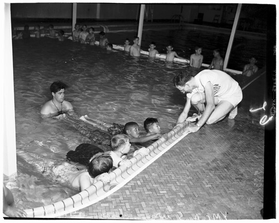 Swim classes for boys (Young Men's Christian Association), 1952