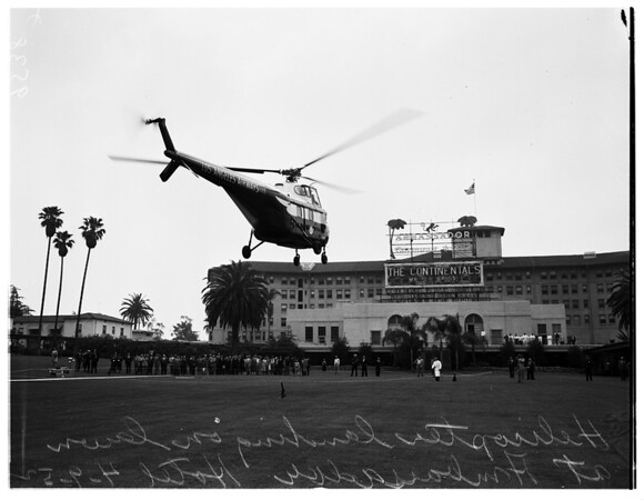 Helicopter at Ambassador Hotel, 1952