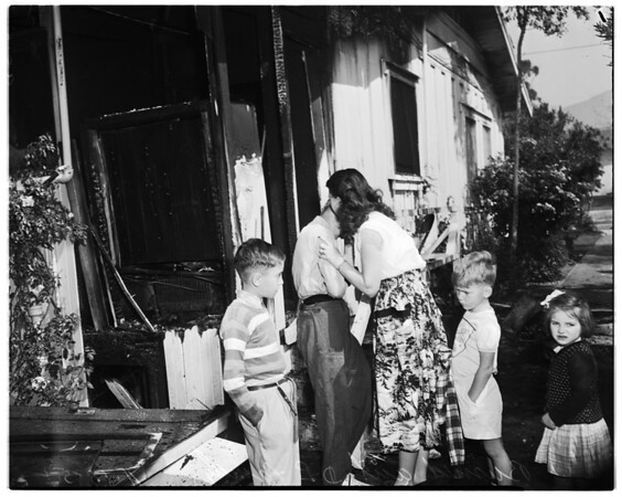 Family burned out (Displaced persons family from Rumania), 1952