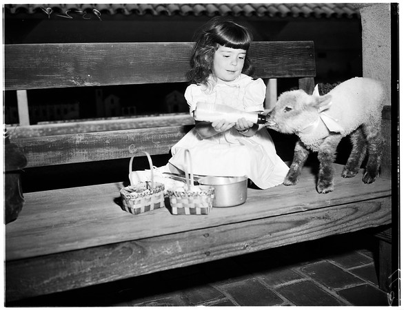 Easter eggs at San Gabriel Mission theatre, 1952