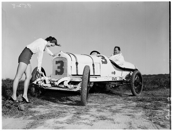 Old racing cars at San Gabriel... Horseless carriage club, 1952