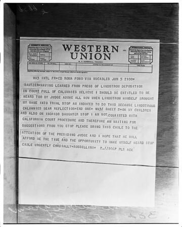 Rossellini cablegram, 1952