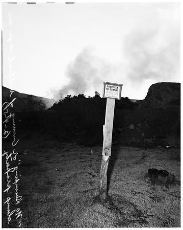 Los Angeles City dump burning in violation in Chavez Ravine, 1951