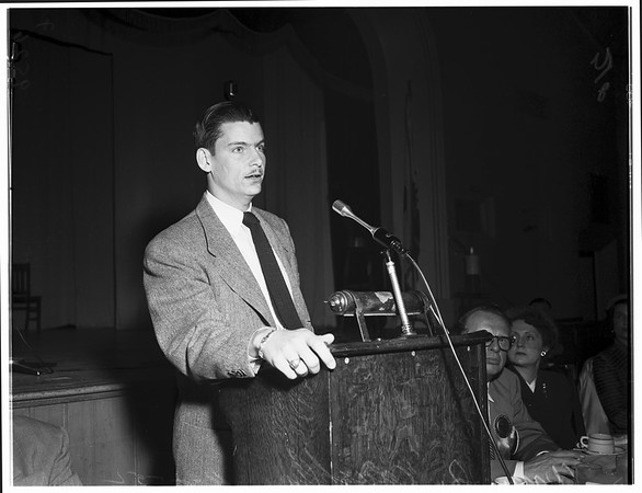J Whitcomb Brougher (Pastor of Baptist Church) speaking at Breakfast Club, 1952