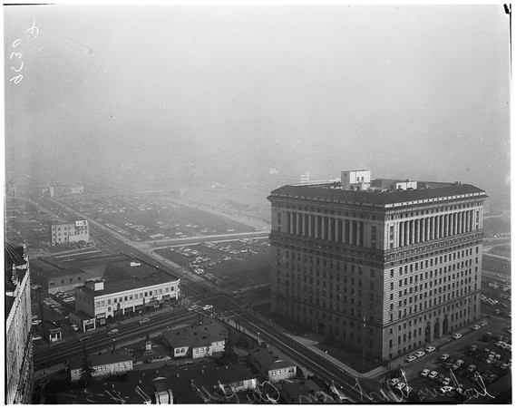 "Smog, from top of City Hall and ""Cops that cried"", 1952"