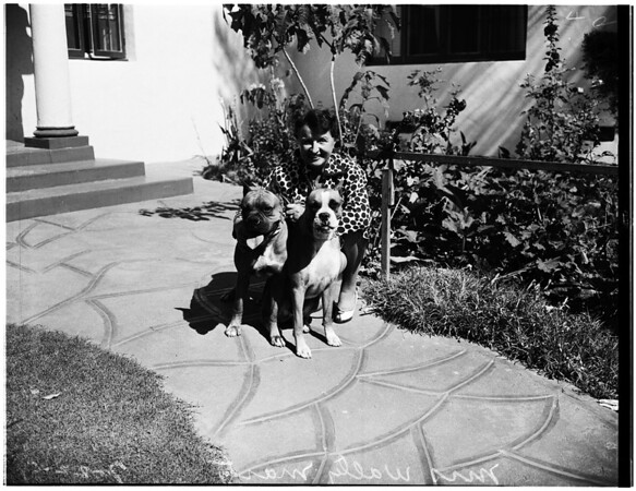 Mrs. Walter Marty (with two boxer dogs), 1951