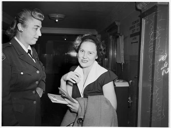 Debtor's hearing for satisfaction judgment against her in swindling cases, 1952