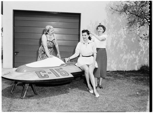 Women planning South Gate Women's Club regatta, 1953